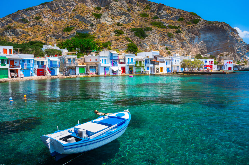 travel to Milos Greece, scenic Klima, village traditional cycladic style by the sea