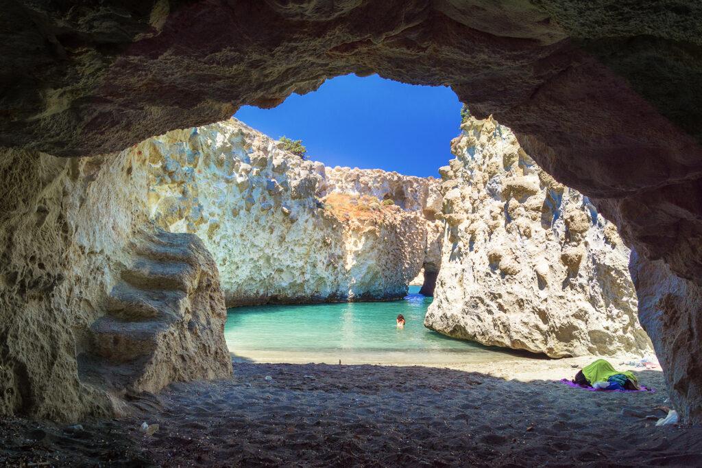 Travel to Milos Cyclades Greece, Cave of Papafragas, Milos