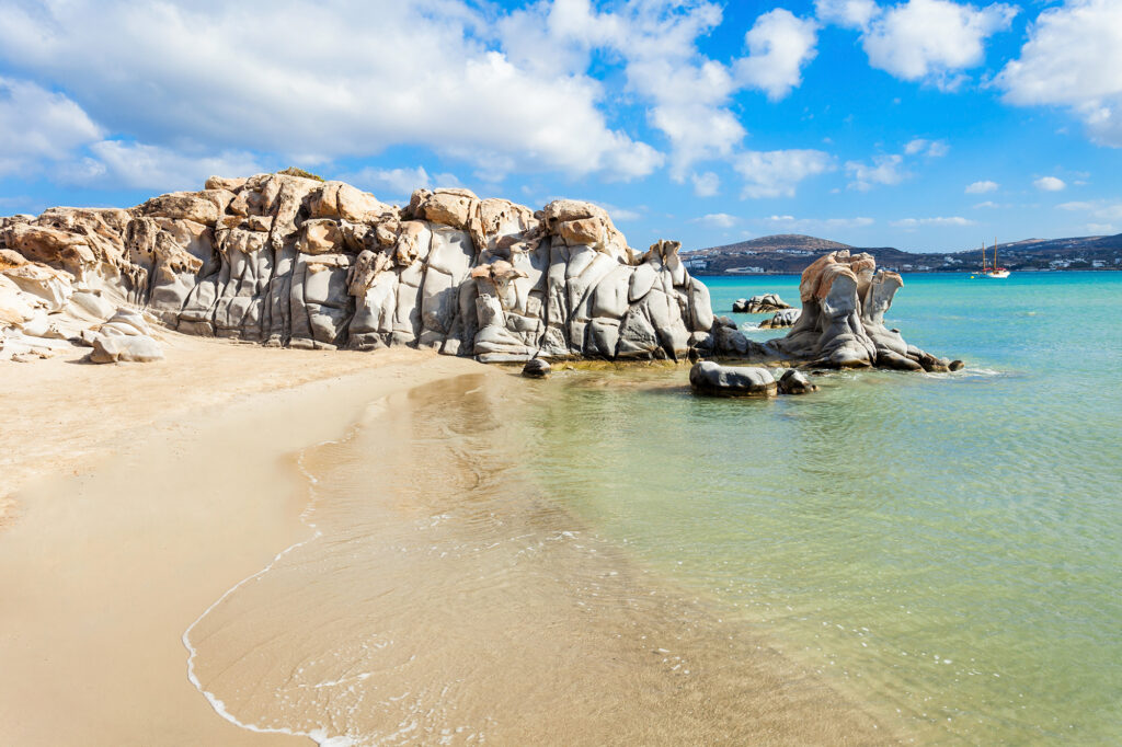 travel to paros greece kolimbithres beach with beautiful rocks