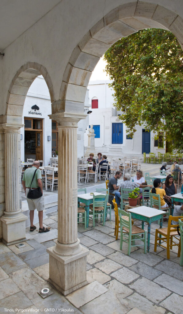 Travel to Tinos, Cyclades, Greece - Square in Pyrgos village - Photo by Y. Skoulas