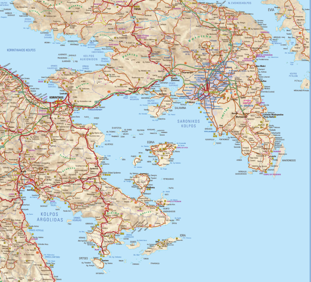 Map of the Argo Saronic Gulf in Greece