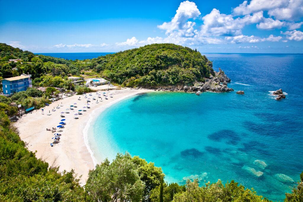 Beautiful Sarakiniko beach. Just 8 km outside the village Parga after Agia village of Syvota area in Greece