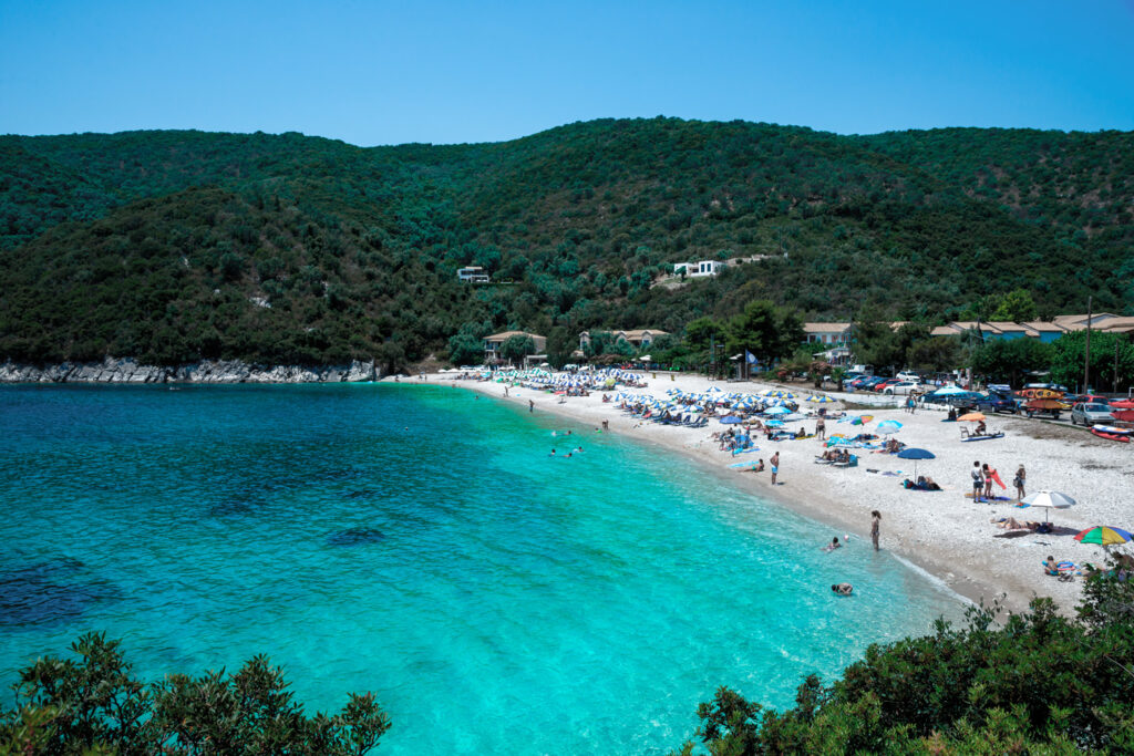 Micros Poros beach on a summer day, Saronic Gulf Greece