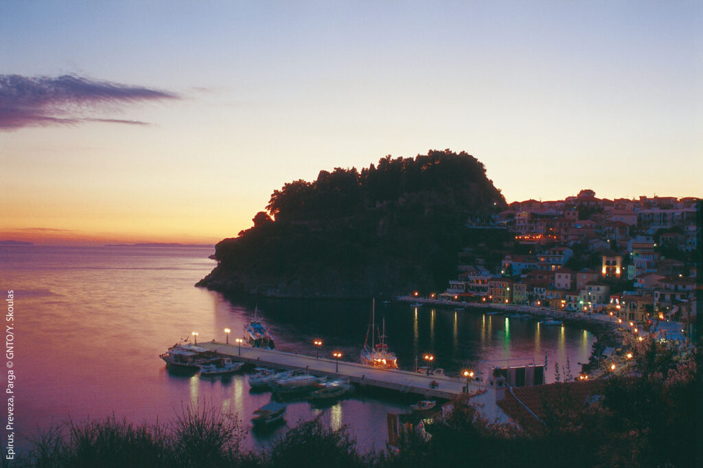 Parga, Preveza, Greece - View at sunset - Photo by Y. Skoulas
