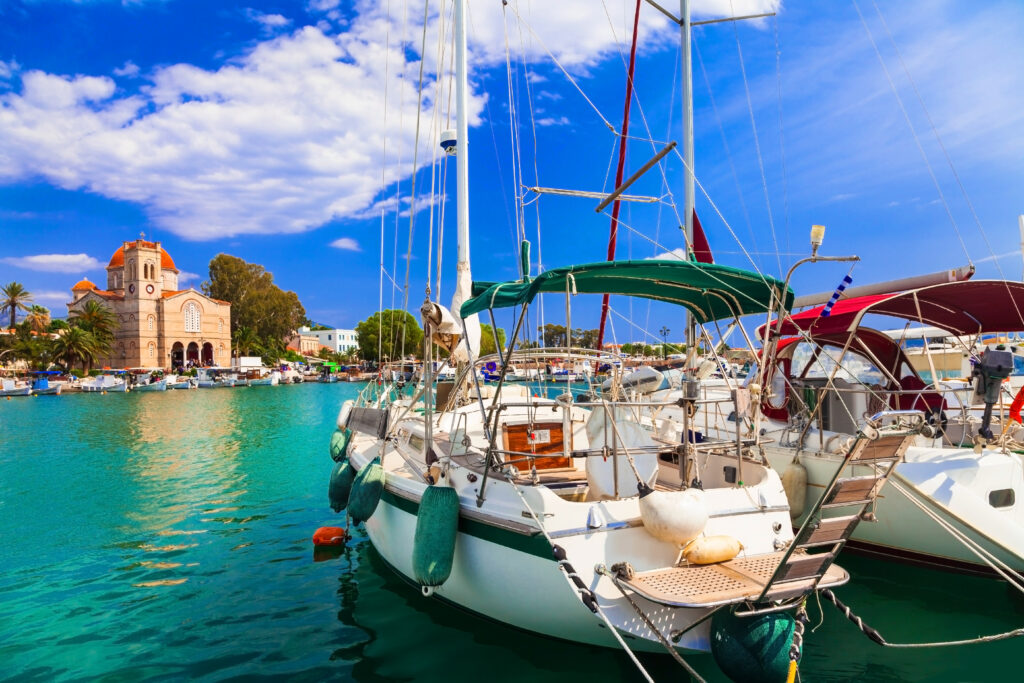 Sailing in beautiful Greek islands - Charming tranquil atmosphere in the harbour of Aegina, Saronic Gulf, Greece