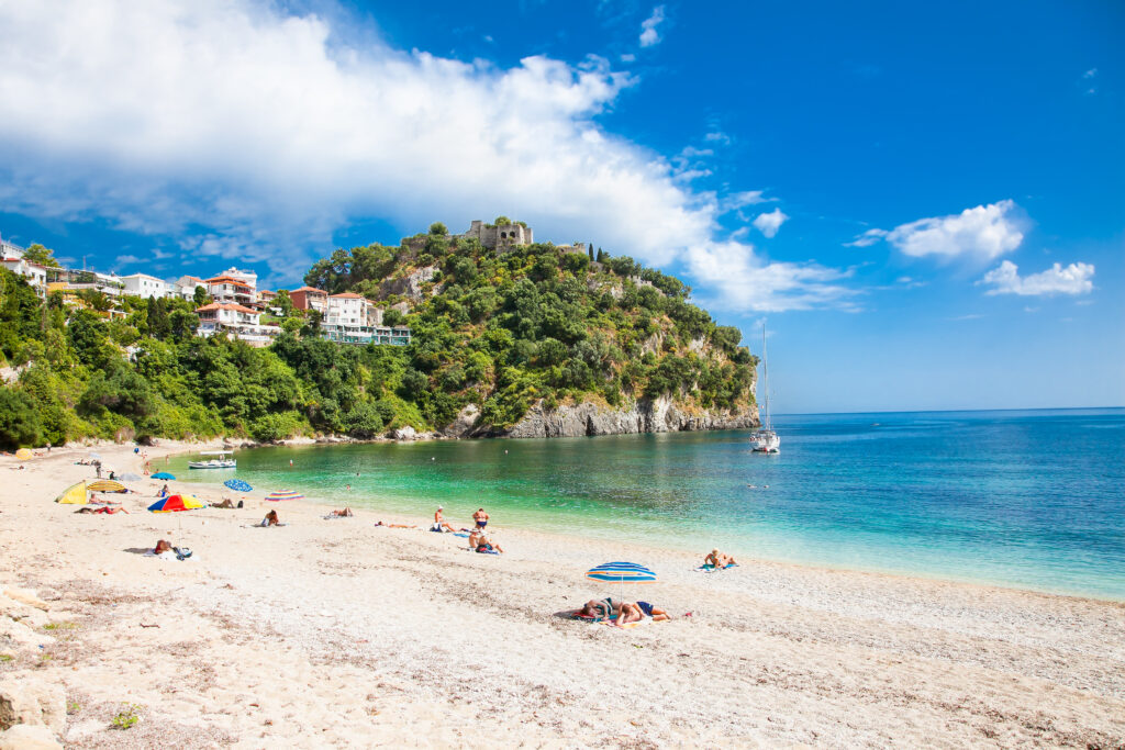 Beautiful Valtos Beach near Parga town of Syvota area in Greece