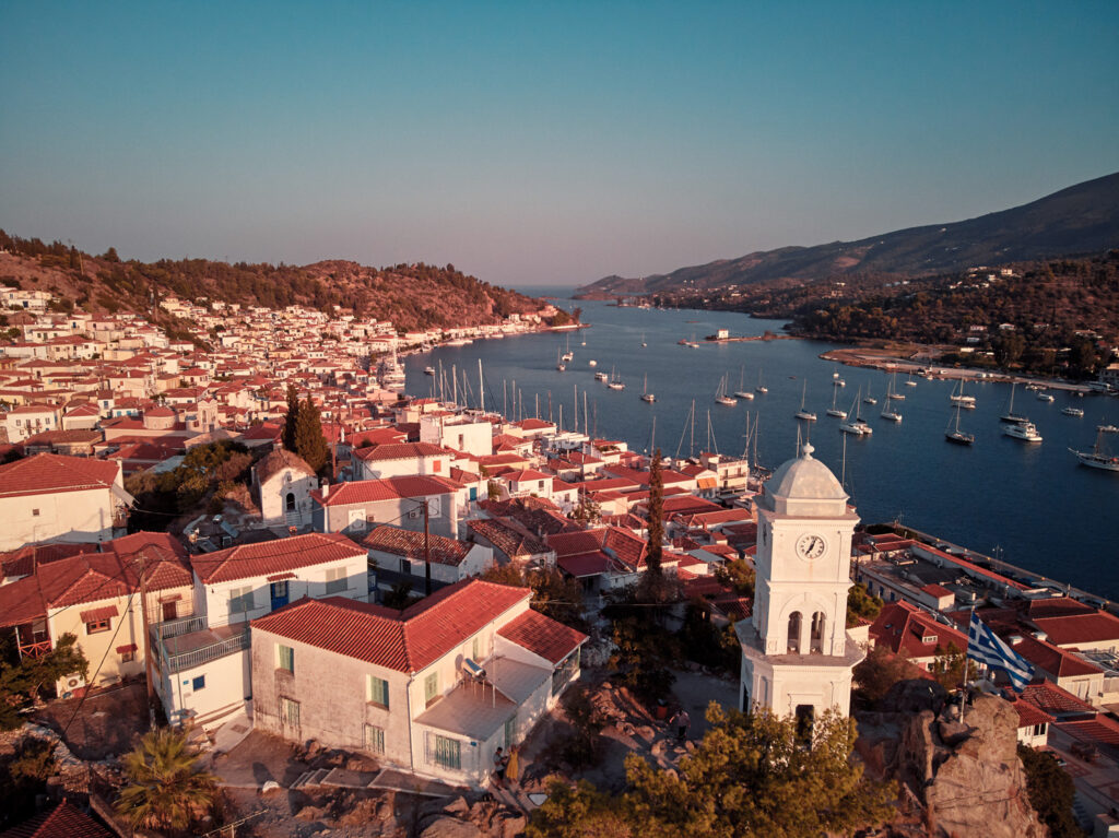 Drone view of Poros Clock Tower in the old town, Saronic Gulf Greece