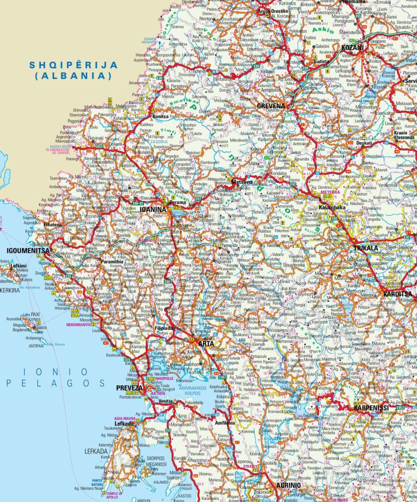 Map of Zagoria in Epirus, Greece