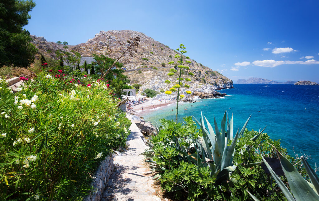 Hydra island, Argo Saronic Gulf, Greece - Castello Hydra and Kamini Beach