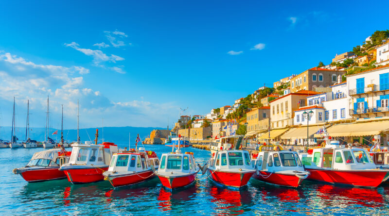Hydra port in Argo Saronic Gulf Greece - Traditional taxiboats in port