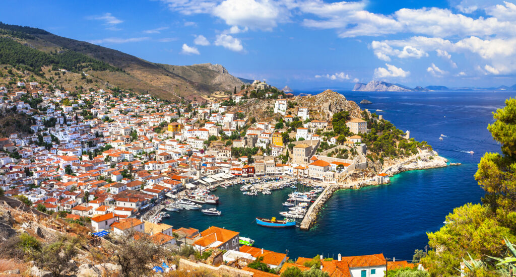 Hydra Town and port, panorama view, Argo Saronic Gulf Greece