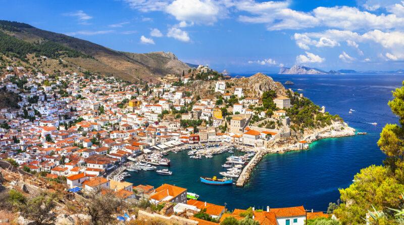 Hydra Town and port, panorama view, Argo Saronic Gulf Greece