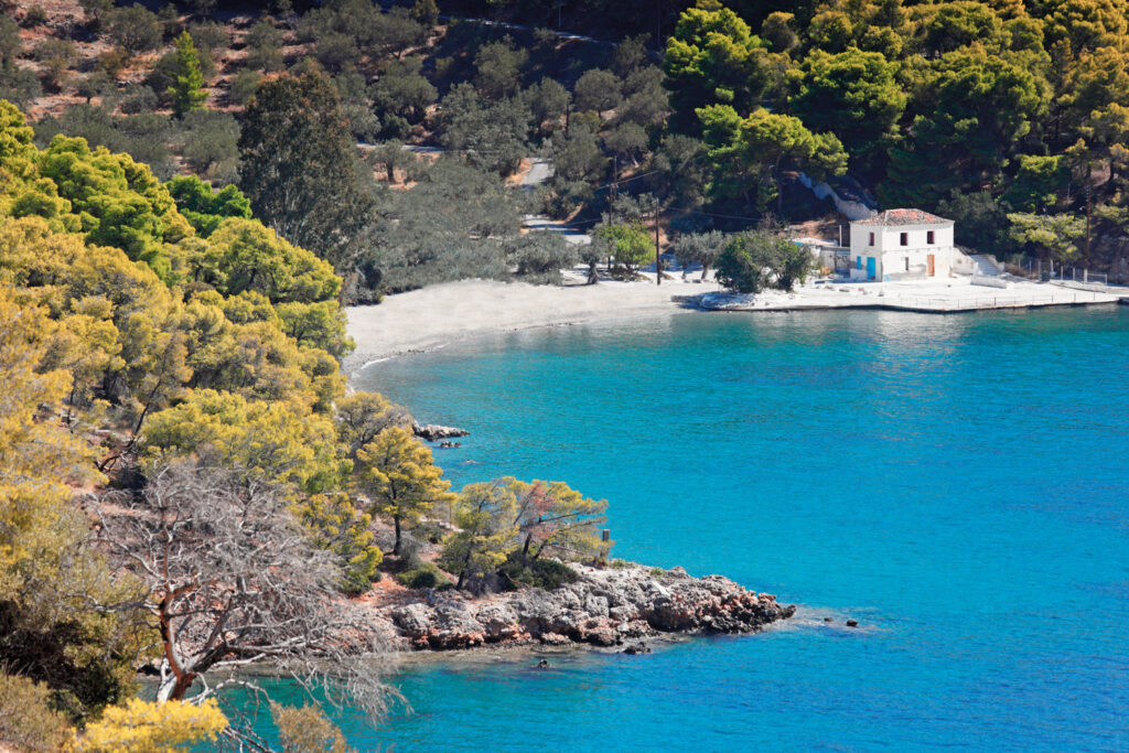 Monastery beach in Poros island, Saronic Gulf Greece
