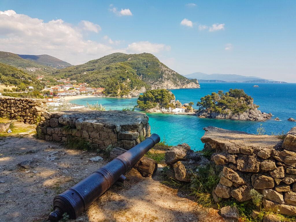Parga town cannon sea panoramic view, Spring season, Greek tourist resort, West Greece