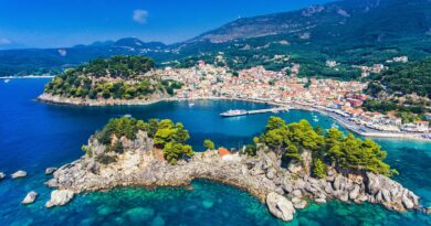 Preveza Parga Greece Parga and Panagia island - aerial view - photo by Calin Stan