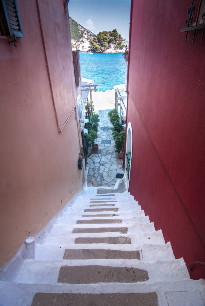 small stairway to the waterfront in Parga Preveza Greece