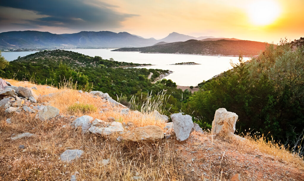 Sunset above Poros island in the Saronic Gulf Greece