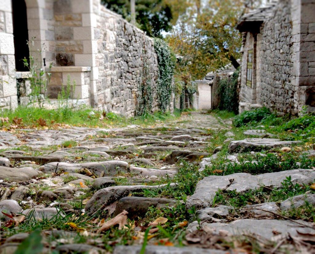 Stonepaved alley in traditional village in Zagoria, Epirus, Greece