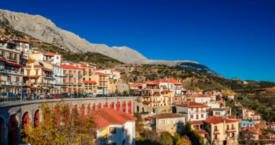 Arachova is famous for its panoramic view uphill small houses and the cobbled streets show a picturesque architecture at Parnassos Mountain Boeotia Greece