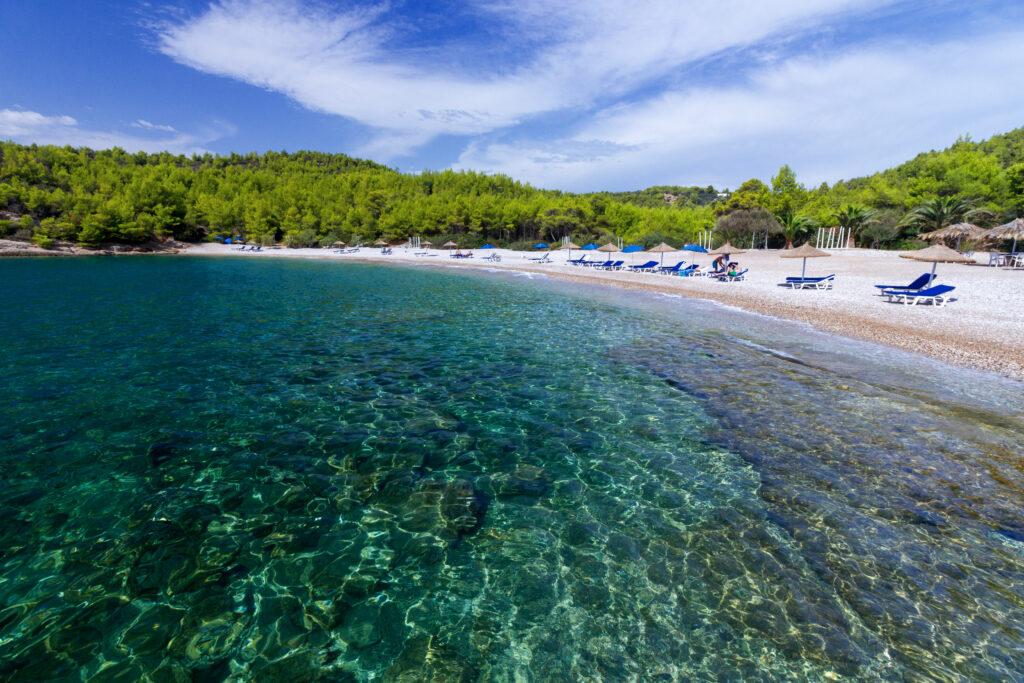 Beach of Xylokeriza, in Spetses island, Argosaronic Gulf, Greece
