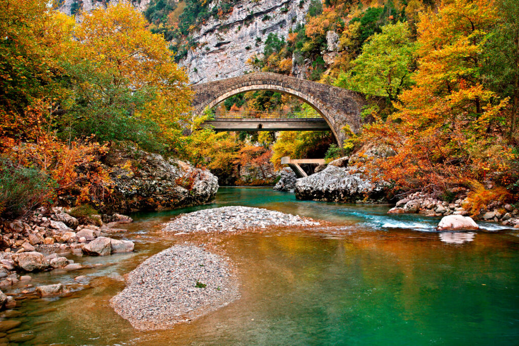 EPIRUS, GREECE- Politsa bridge over Arachthos river, Katsanochoria region, North Tzoumerka municipality, Ioannina prefecture