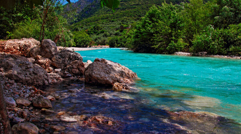 Landscape-and-Acheron-river-in-Greece.-Acheron-was-known-as-the-river-of-woe-and-was-one-of-the-five-rivers-of-the-Greek-underworld