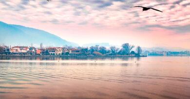 Late afternoon scene of Lake Pamvotis in Ioannina City, Epirus, Greece