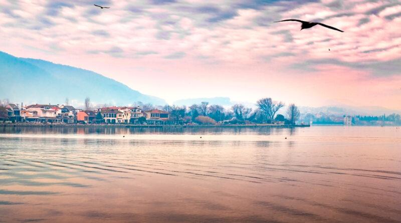 Late afternoon scene of Lake Pamvotis in Ioannina City, Epirus, Greece