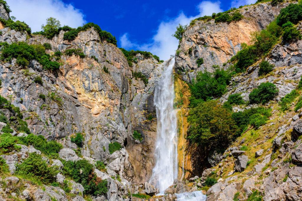 Waterfalls of Tzoumerka. One of two picturesque waterfalls in the mountains of a national park in eastern Tzoumerka, in the vicinity of the village of Kriopigi. Greece