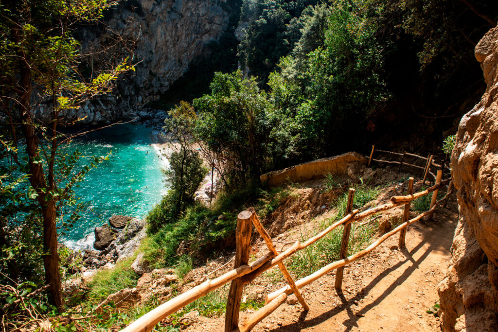 A path to Fakistra beach in Pelion Greece