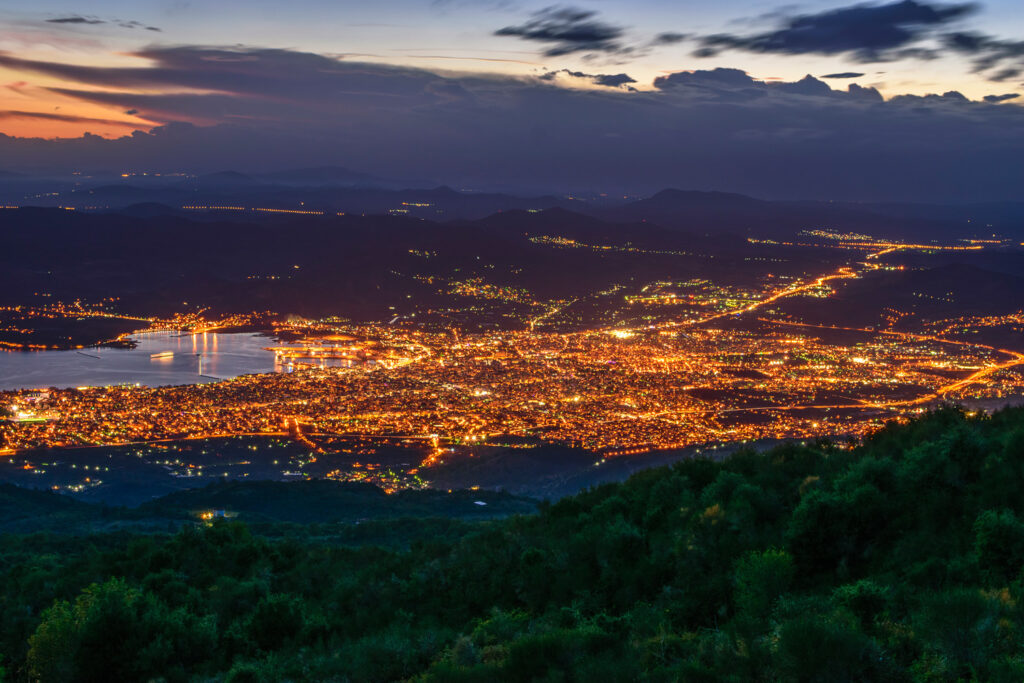 Panoramic view of Volos city from Pelion mountain, Magnesia Greece