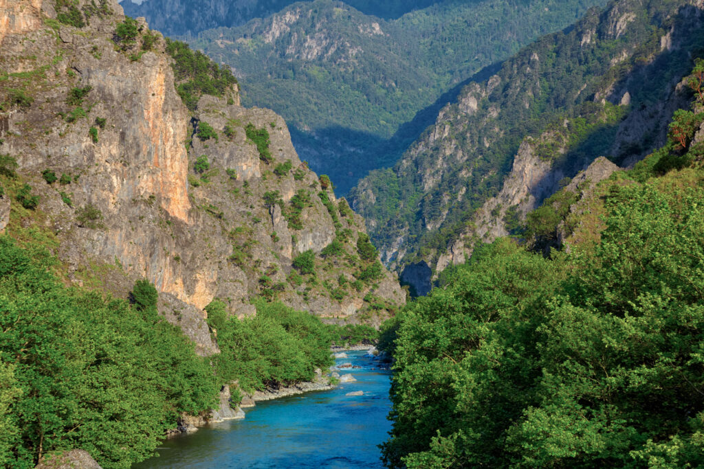 Aoos River near Konitsa during summer, Epirus Greece