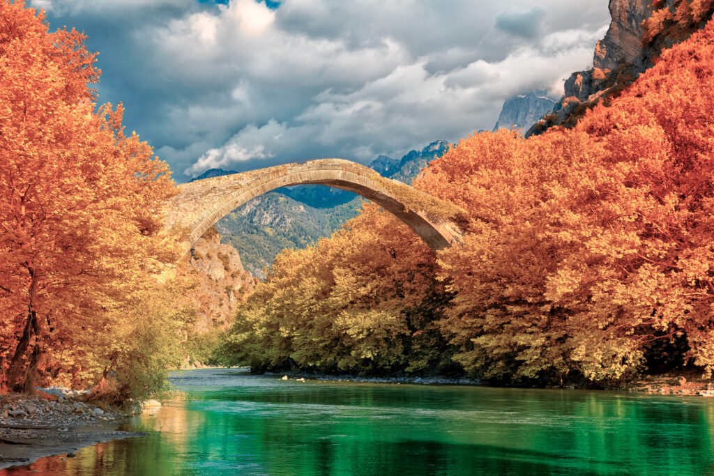 Aoos river near Konitsa, old stone bridge, Epirus Greece