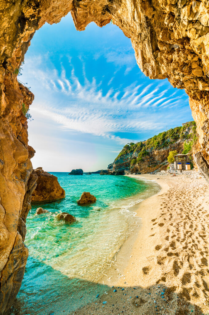 Arched passage on Mylopotamos beach in Pelion, Thessaly Greece