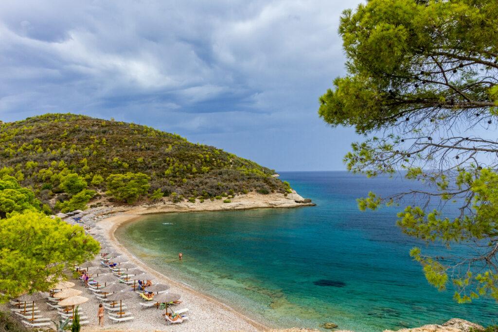 Vrellos beach, Spetses island, Saronic Gulf, Greece