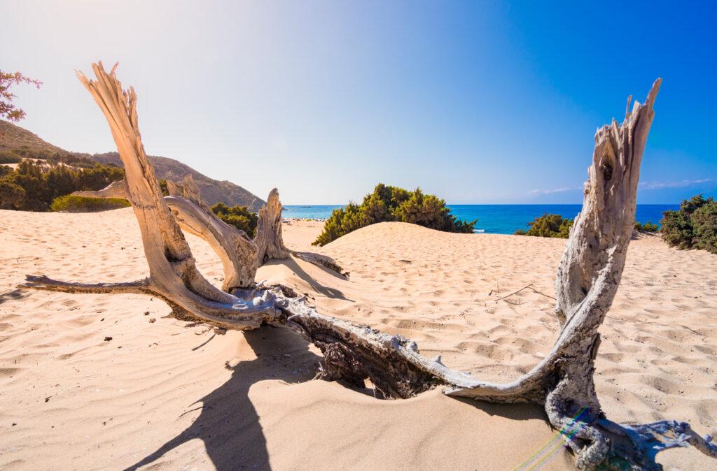 Countryside of Gavdos island, view to the naturist beach of Agios Ioannis Crete Greece