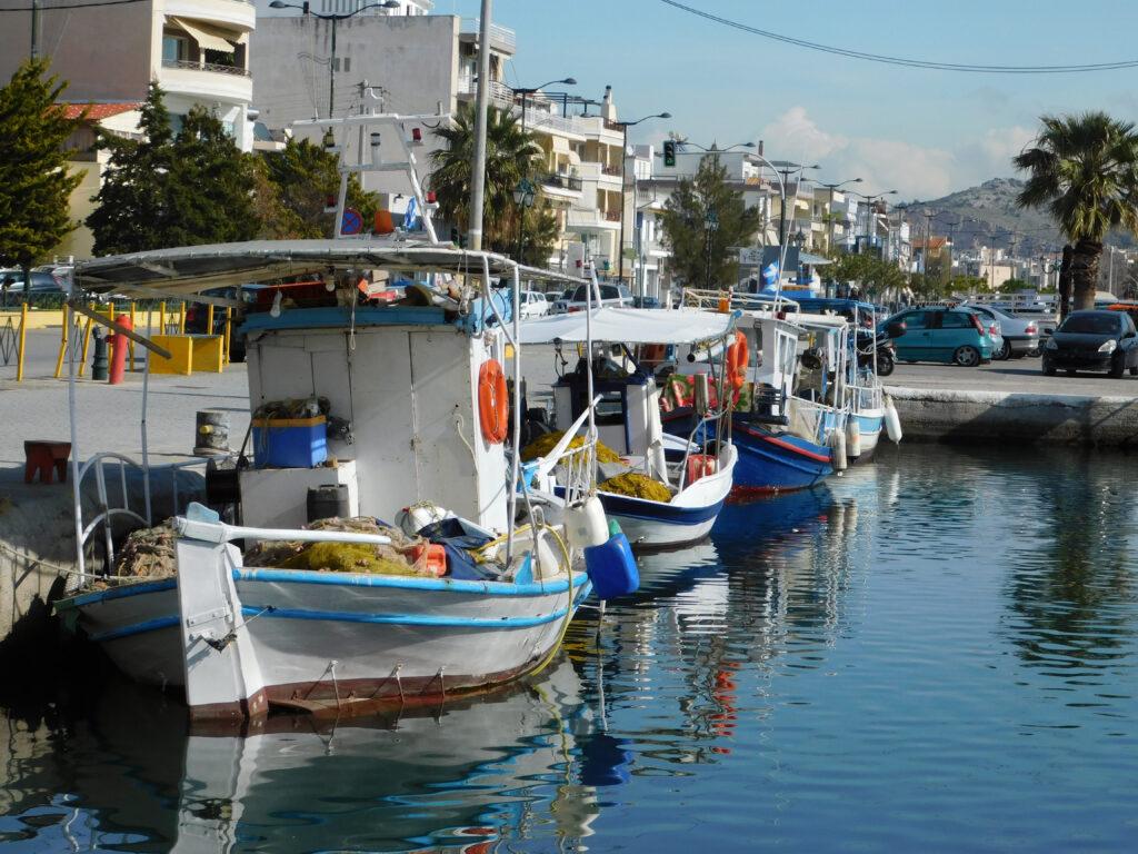Port at Salamina island in the Saronic Gulf, Greece