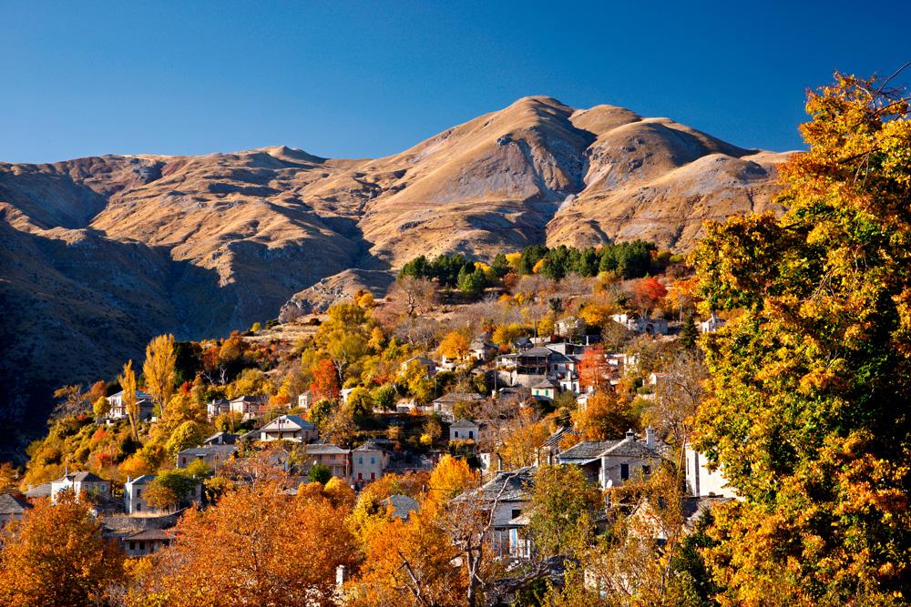 Kalarrytes village Greece, one of the most beautiful Greek mountainous villages on Tzoumerka Zagoria Epirus
