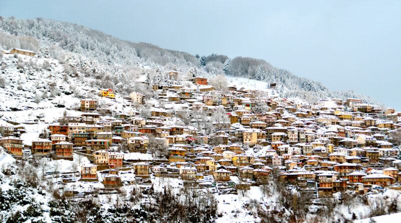 Metsovo tourist resort in Epirus Greece, snow in winter
