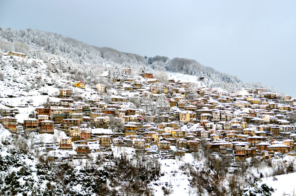 Metsovo tourist resort in Epirus Greece - snow covered during winter