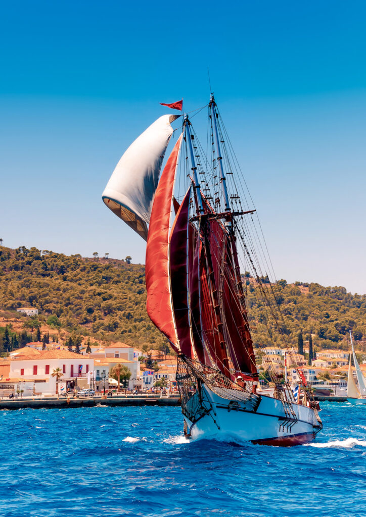 old classic wooden sailboat during a classic boats regatta in Spetses island in Saronic Gulf Greece