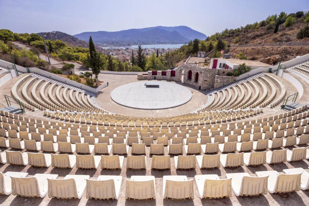 Open air theatre in Salamina island, Saronic Gulf, Greece