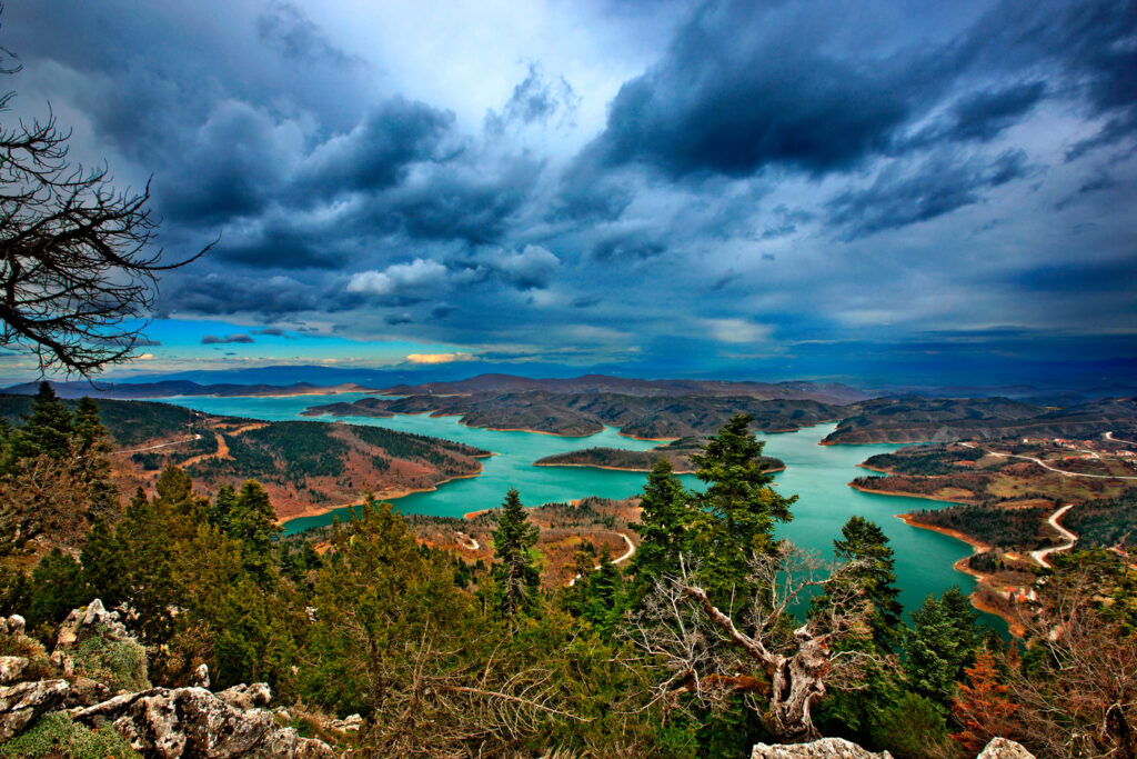 Plastiras Lake - panoramic view of Plastiras Lake from the observation post at Agrafa, Thessaly Greece