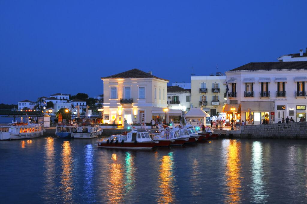 Spetses port by night, Saronic Gulf, Greece