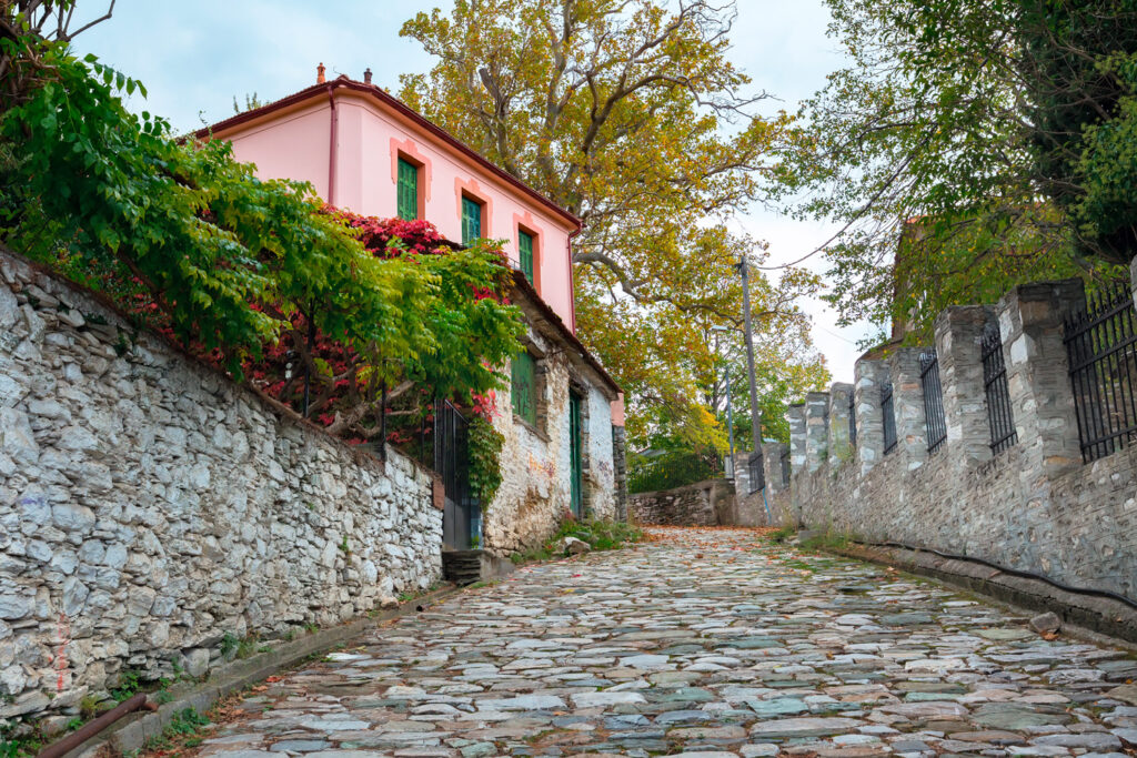 Street view in Portaria village in Pelion Thessaly Greece