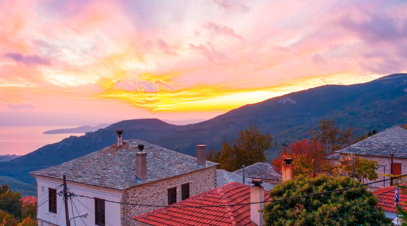 sunset view from Agios Lavrendios village on Pelion mountain in Thessaly Greece
