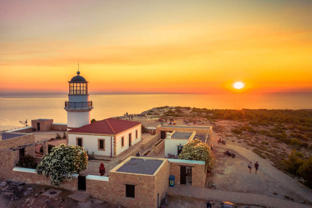 The lighthouse on Gavdos island at sunset, Crete, Greece