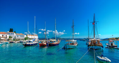 the old port of Spetses island in the Saronic Gulf, Greece