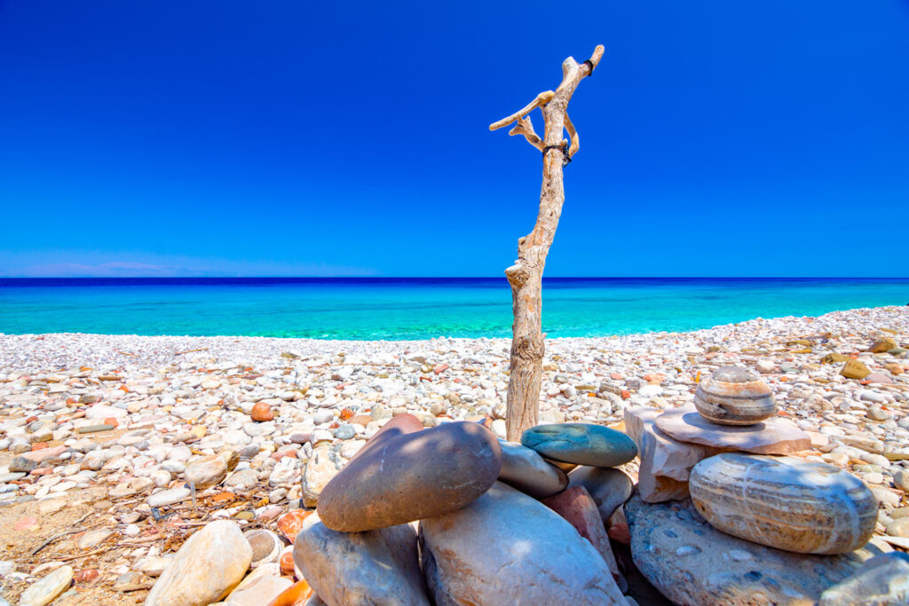 The tropical naturist beach of Lakoudi, Gavdos island, Greece