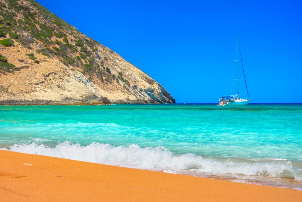 The tropical naturist beach of Potamos, Gavdos island, Greece